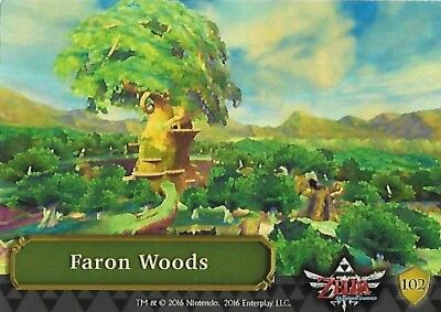 The Legend Of Zelda Trading Cards 102-Faron Woods  (Silver Foil Puzzle) Ingles