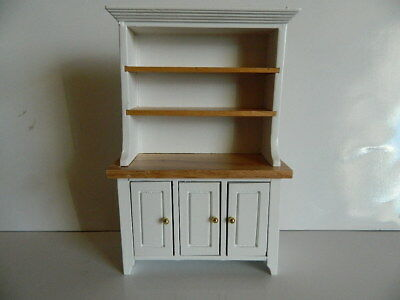 (H11) Dolls House Wooden White & Pine Kitchen Dresser