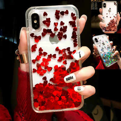 For iPhone 7 & 8 PLUS XS Max XR Liquid Glitter Love Heart Hard Case Phone Cover