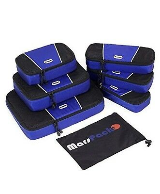 7 Piece Set Packing Cubes Travel Luggage Organizers with Laundry Bag  NEW