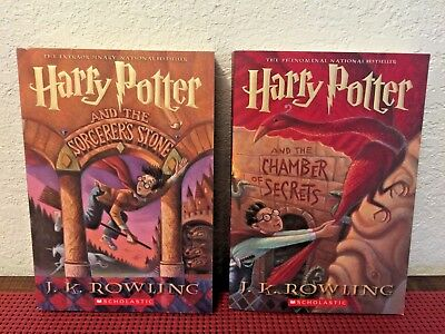 SET of 2 HARRY POTTER and the Sorcerer's Stone & Chamber of Secrets (Scholastic)