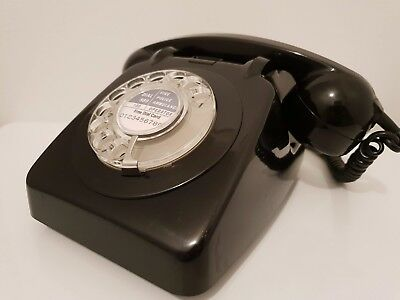 Original Vintage Retro 1960's GPO 706 Rotary Dial Black Telephone Restored