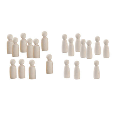 10x Unpainted Small Wooden Peg Doll Bodies for DIY Arts Crafts Paint Carved