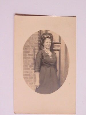 Antique Postcard Real Photo Woman  IN Hat And Dress Standing RPPC Used  #2128