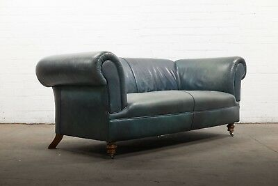 Superb Victorian Style 3 Seater Dark Green Leather Chesterfield Sofa Uk Delivery