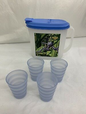 TUPPERWARE Impressions 4 Mini Sheer Tumbler Cups 4080A & Bugs Life Pitcher 2189A