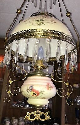 Antique Vintage Victorian Library Hanging Ceiling Electric Oil Lamp Light B&H?