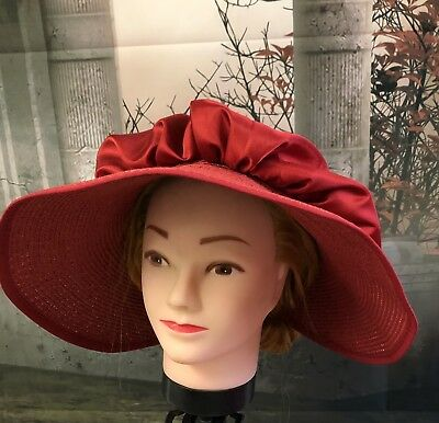 Regency Style Red Capote Hat