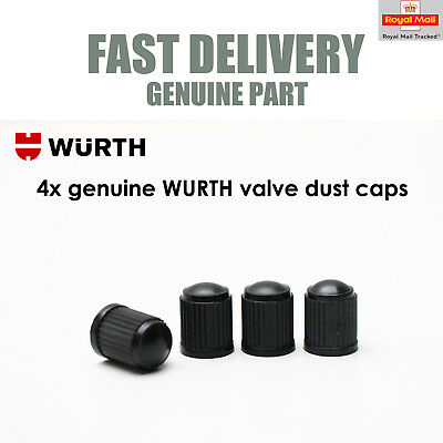 4 x WURTH Dust Air Valve Tyre Caps Black Plastic Covers Car Bike & Motorbike New