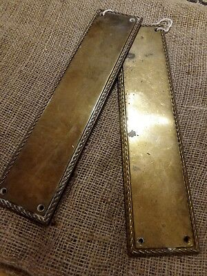 Pair Brass Finger Door Plates  Push Fingerplate  Very Heavy
