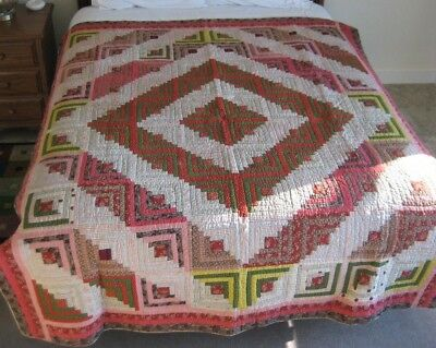 Antique 1900 Handmade Quilt Log Cabin Barn Raising 67 x 83  Red-Green-Multicolor