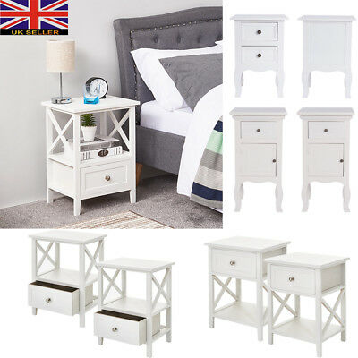 2x French Style Shabby Chic Wood Bedside Table Cabinet Sideboard White Funiture
