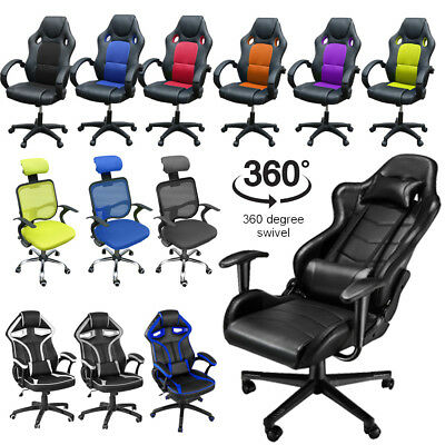 Executive Office Chair Swivel Leather Racing Gaming Chair Sport Multiple Choices