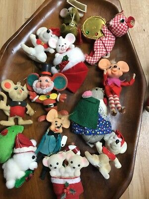 lot of 13 vintage Christmas ornaments MICE MOUSE