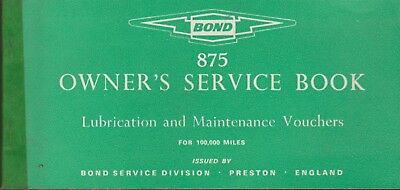 Rare 1968 Bond 875 Mk 11 Original Owners Service Book And Sales Flyer