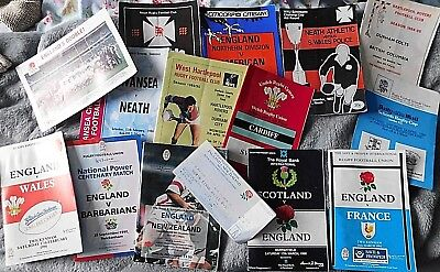 Collection 13 RUGBY UNION PROGRAMMES &Ticket incl ENGLAND INTERNATIONALS 1990's
