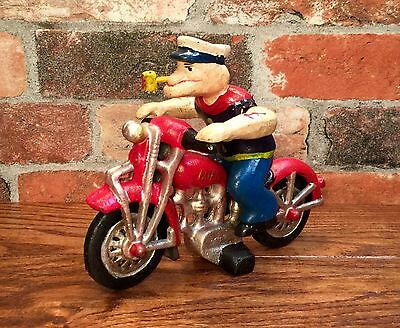 Cast Iron Popeye the Sailor Man Red Vintage Patrol Motorcycle Toy