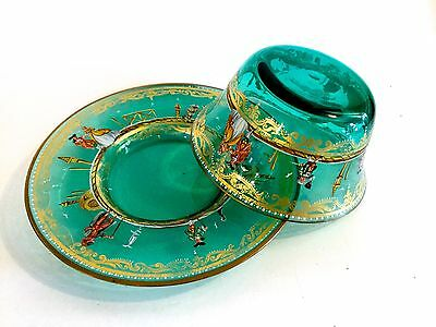 Antique Italian Green Glass Bowl & Under-Plate Hand Painted Enamel & Gold