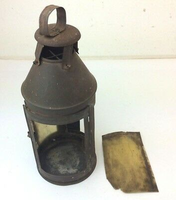 Antique Old Tin Metal Handheld Portable Damaged Early Lantern Lamp Cage Parts
