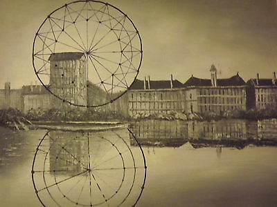 black white abstract london eye large oil painting canvas modern cityscape art