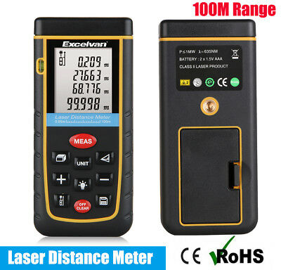 100M/328FT Handheld Digital LCD Laser Distance Meter Finder Range Measure Tool