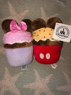 Disney Parks Mickey Mouse Minnie Mouse 7 inch Cupcake Plush, New