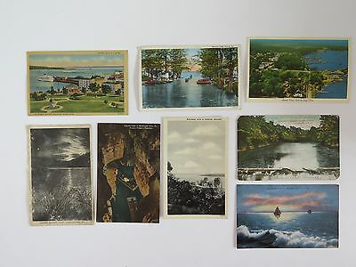 8 States Postcards Lot Linen Lakes Cities Rivers Islands RPPC Scenic #7352