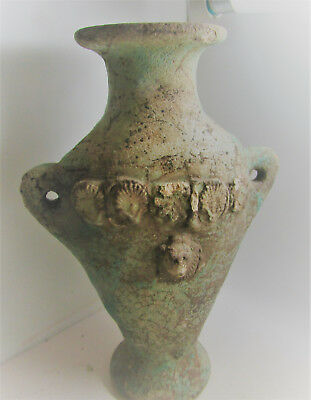Beautiful Ancient Egyptian Glazed Faience Amphora With Face Of Anubis