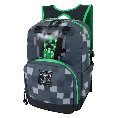 "MINECRAFT Creeper 17"" Grey Backpack - Laptop Bag Tablet Safety Reflector JINX"