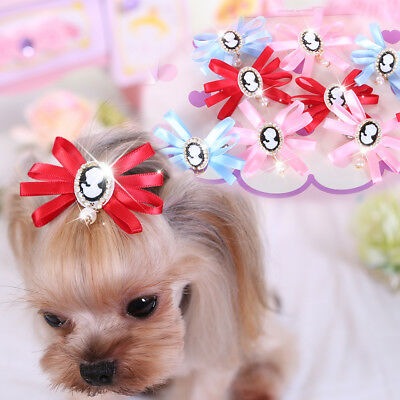 Bling Small Pet Dog Hair Bows Accessory Grooming Pearl Cat Hairpin Clips Yorkie