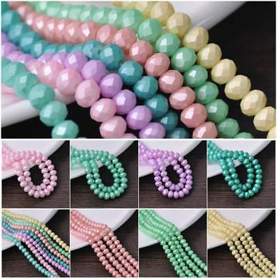 Wholesale 6mm 8mm Charms Rondelle Faceted Matte Coated Glass Loose Spacer Beads