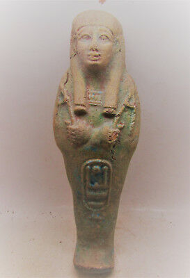 Beautiful Ancient Egyptian Glazed Ushabti Shabti With Heiroglyphics
