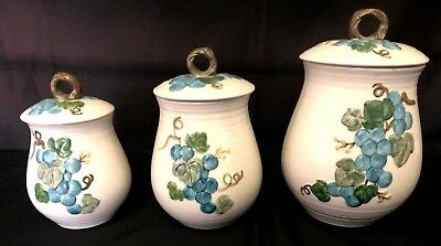 Metlox Poppytrail Sculptured Grapes Dinnerware Canisters 6 Pieces - 3 Cannisters