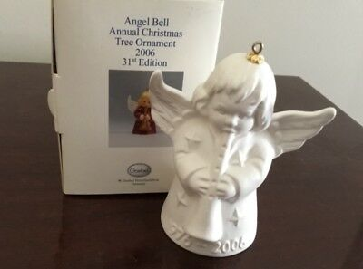 GOEBEL ANGEL BELL Ornament WHITE BISQUE W/Horn 1976-2006 NEW FREE SHIPPING