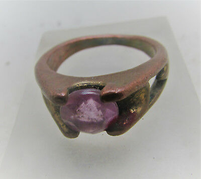 Lovely Antique Post Medieval Bronze Ring With Pink Stone Inset
