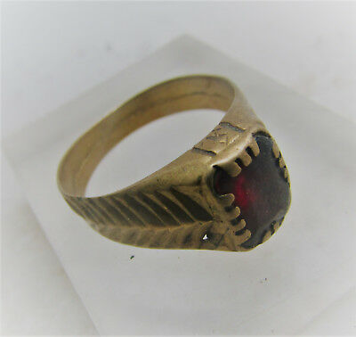 Lovely Antique Post Medieval Bronze Ring With Red Stone Inset
