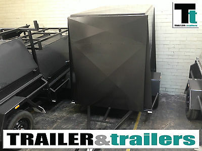 6x4 SINGLE AXLE 4FT HIGH FULLY ENCLOSED VAN/CARGO TRAILER + NEW WHEELS + JOCKEY