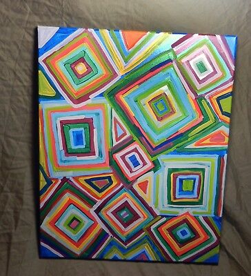 One Of A Kind Hand Painted Canvas Geometrical Multi Color 20x16 Painting Signed