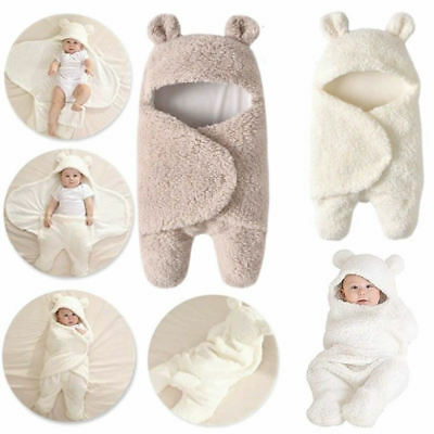 Infant Newborn Baby Boy Girl Soft Fleece Warm Swaddle Wrap Blanket Sleeping Bag