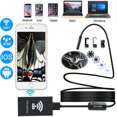 1200P WiFi Endoscope Borescope 10M 8LED HD Inspection Camera For Andriod Iphone