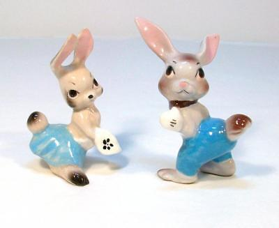 TWO Vintage Miniature RABBITS BUNNY Hagen Renaker Ceramic Figurine Lot McFarlin
