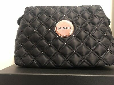 Mimco Cosmos Black Rose Gold Large Cosmetic Toiletry Make up Bag