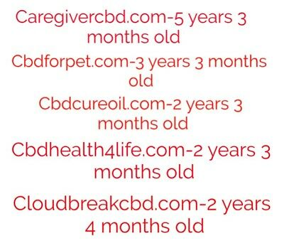 CBD Aged Domain Lot Including 5 Domains All Over 2 Years Old