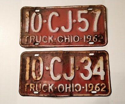 A Vintage Lot Of (2) 1962 Ohio Truck License Plates