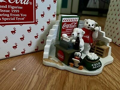 Coca Cola 1999 Polar Bear Cub Figurine Hearing From You A Special Treat In Box