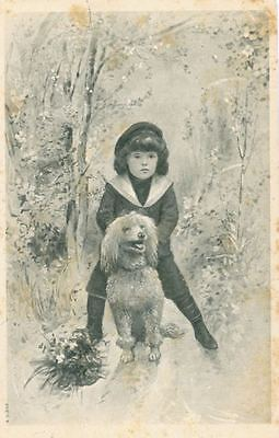 Old Postcard PC White Poodle Dog & Girl in Belgium 1906 RARE France