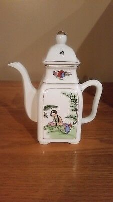 Vintage Japanese/chinese Asian Porcelain Hand Painted  Square Teapot
