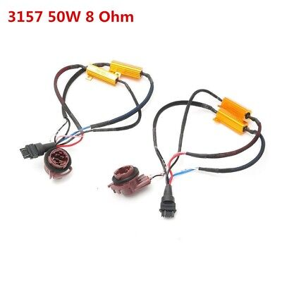 2pcs 50W 3157 LED No Error Canbus Fog Light Load Resistor Wiring Harness Decoder