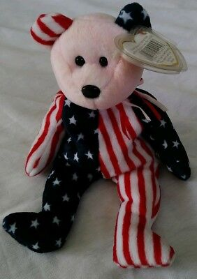 TY BEANIE BABY SPANGLE Bear PINK FACE DOB 6/14/1999 Stars & Stripes pink/red tie
