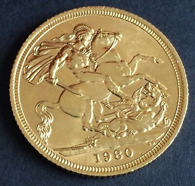 1980 Great Britain Full Sovereign  Gold coin Great Gift